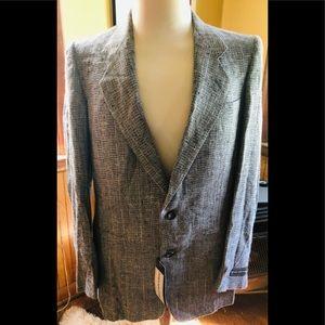 Mens Vintage NWT Jones NY Suit Jacket Gray Linen